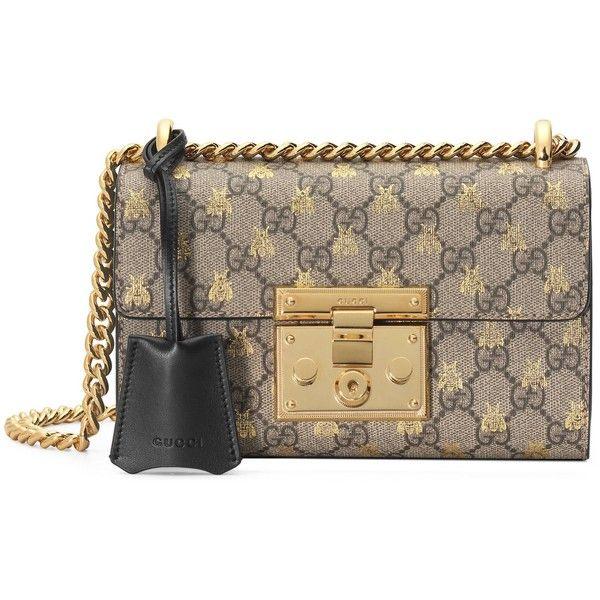 40e2b8b5d23c7e Gucci Padlock Small Gg Bees Shoulder Bag (€1.515) ❤ liked on Polyvore  featuring bags, handbags, shoulder bags, women, chain strap handbag,  leather shoulder ...
