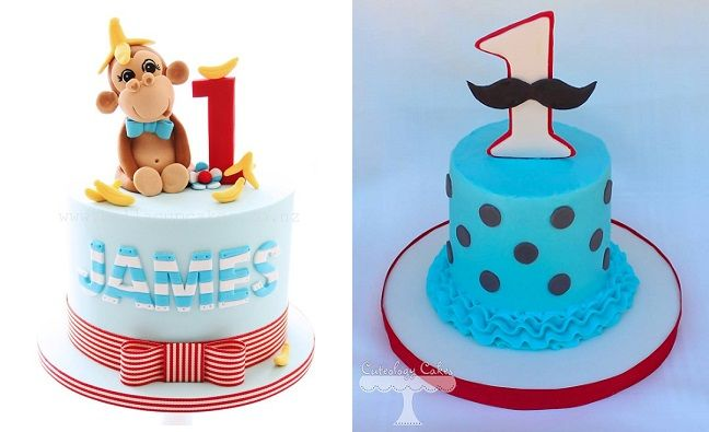 1st birthday cakes for boys by Bella Cupcakes NZ left and Cuteology