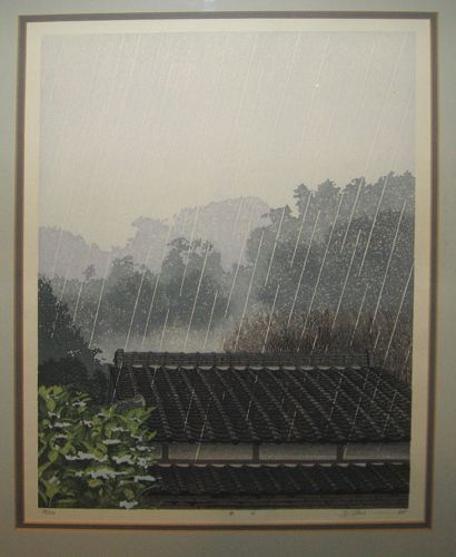 "Shufu Miyamoto Modern Japanese Color Woodblock ""Rainy Day"" Listed Artist 