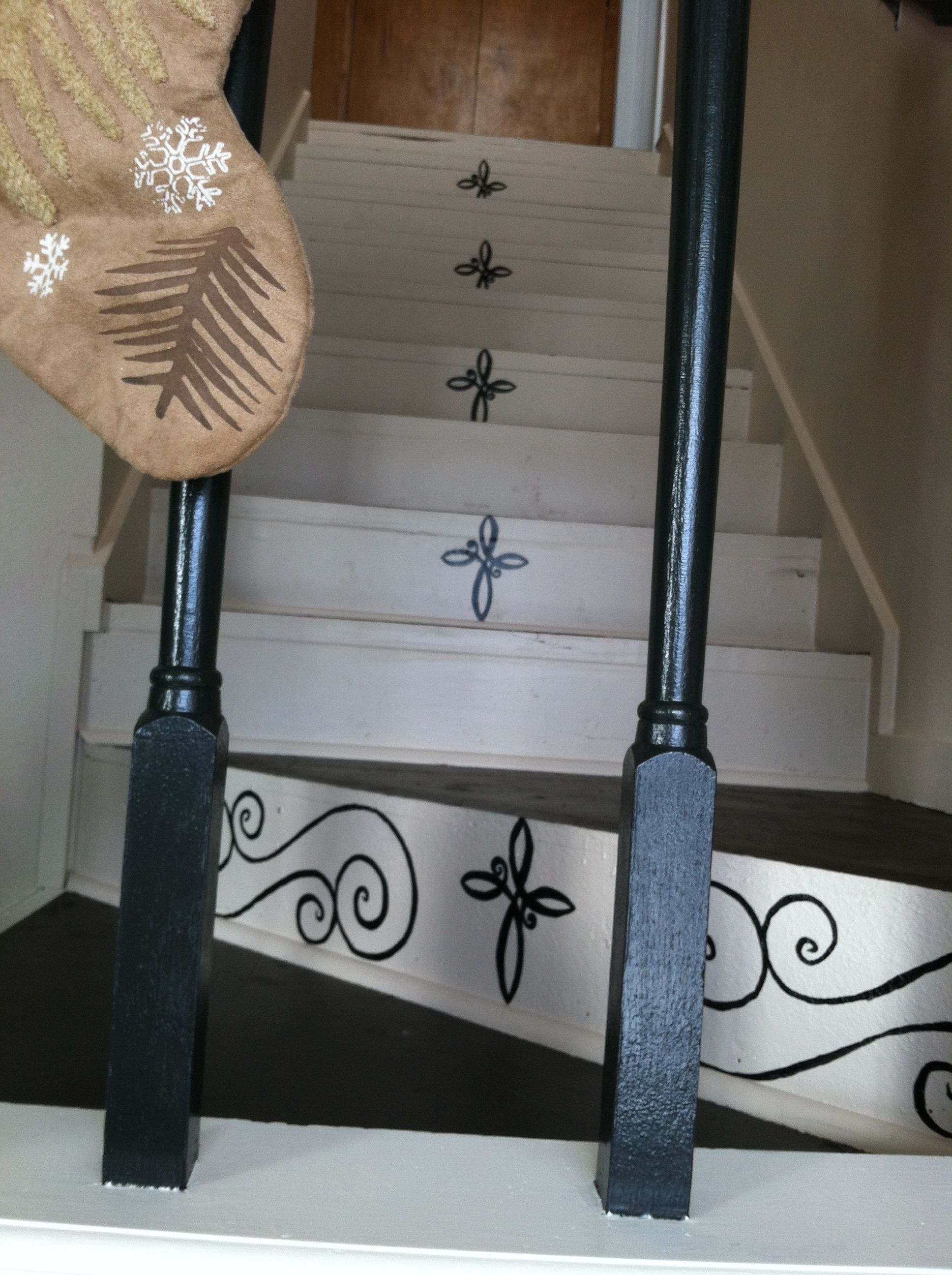 I hand painted these on my boring stairs :)
