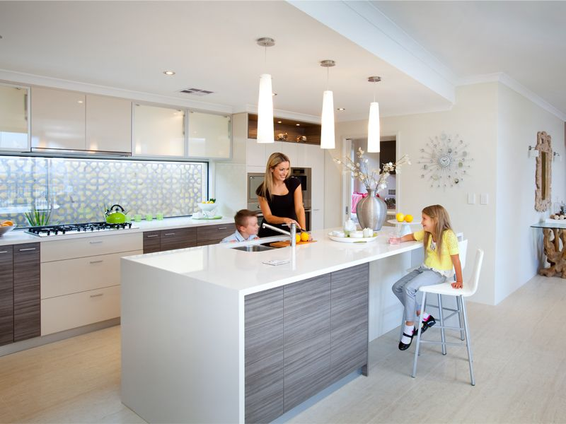 This has the window splashback shows the different colour laminate on the back of the island Kitchen design centre brisbane