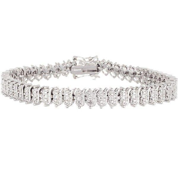 Bliss 18k White Gold Double Diamond Accent 7 Tennis Bracelet 21 Liked On Pol White Gold Bracelet Mens White Gold Bracelets Diamond Necklace Designs