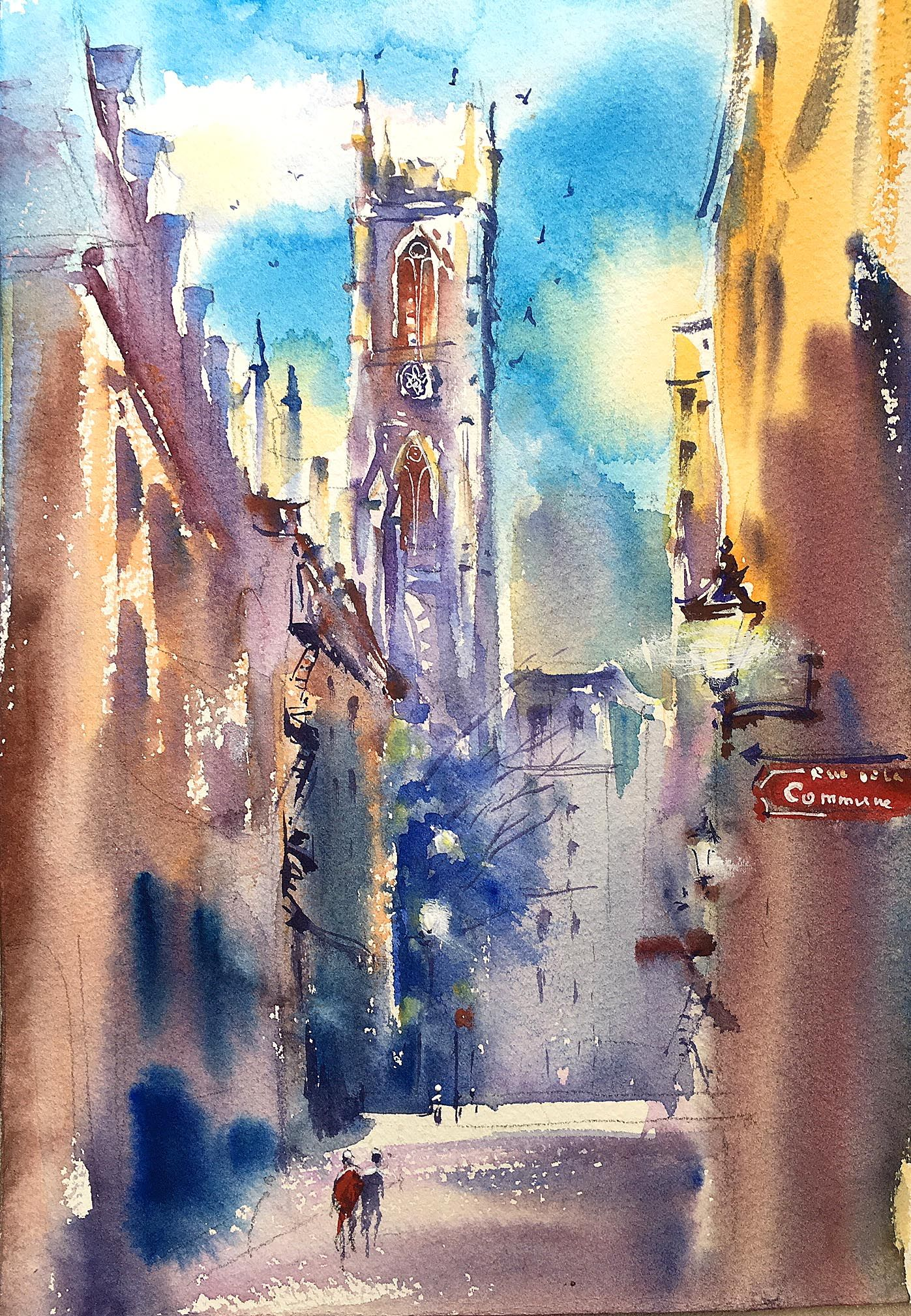 Sunny Afternoon In The Old City Of Montreal Original Watercolor