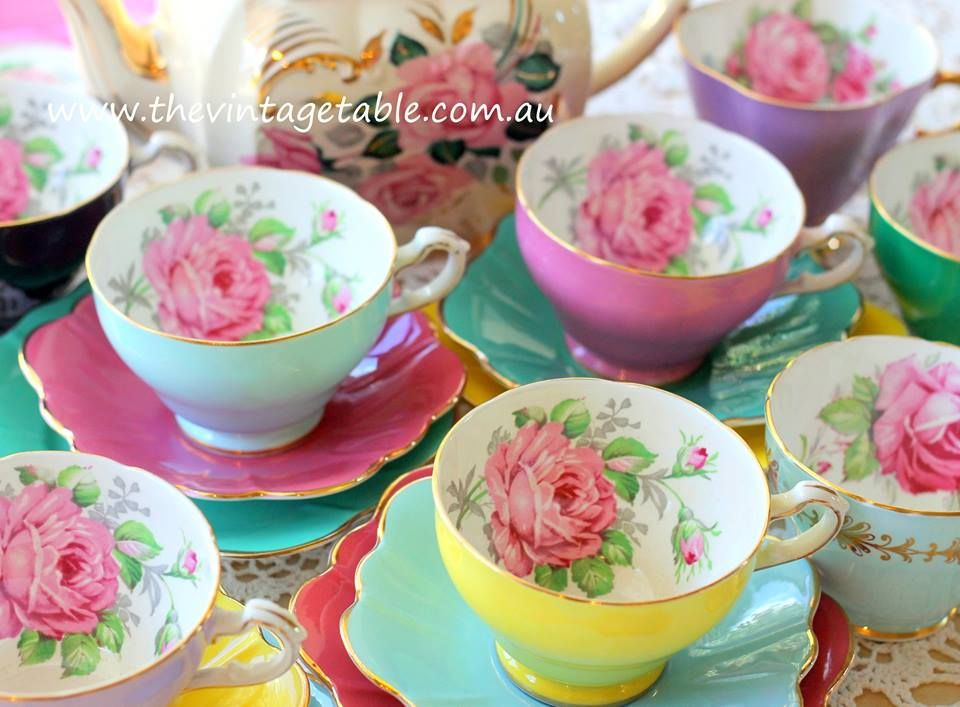 Vintage mismatched roses tea sets.