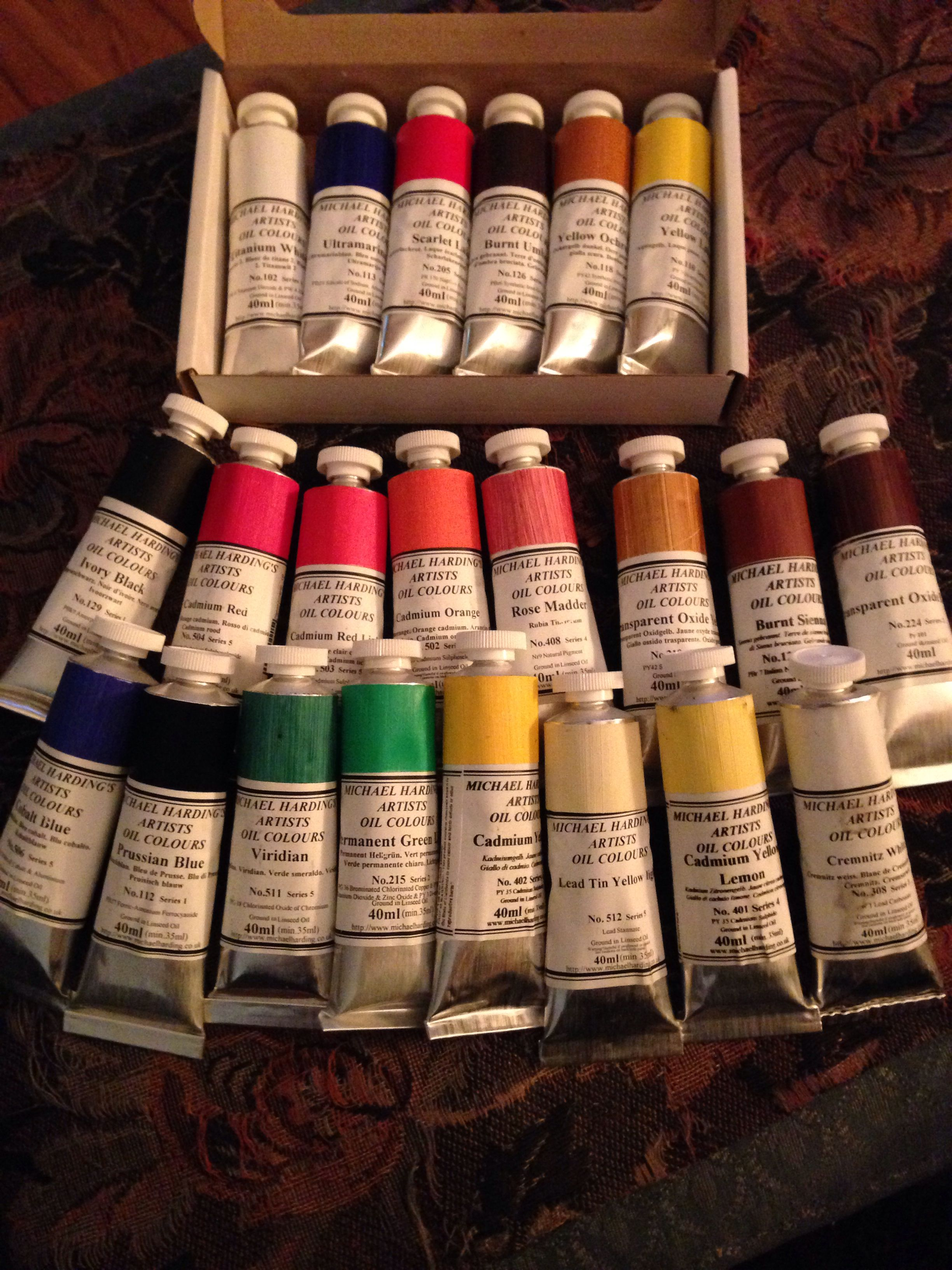 My brand new Michael Harding paints. Yummy!!! Colorful
