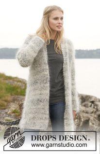 Ocean Roar Long knitted DROPS jacket in garter st, worked