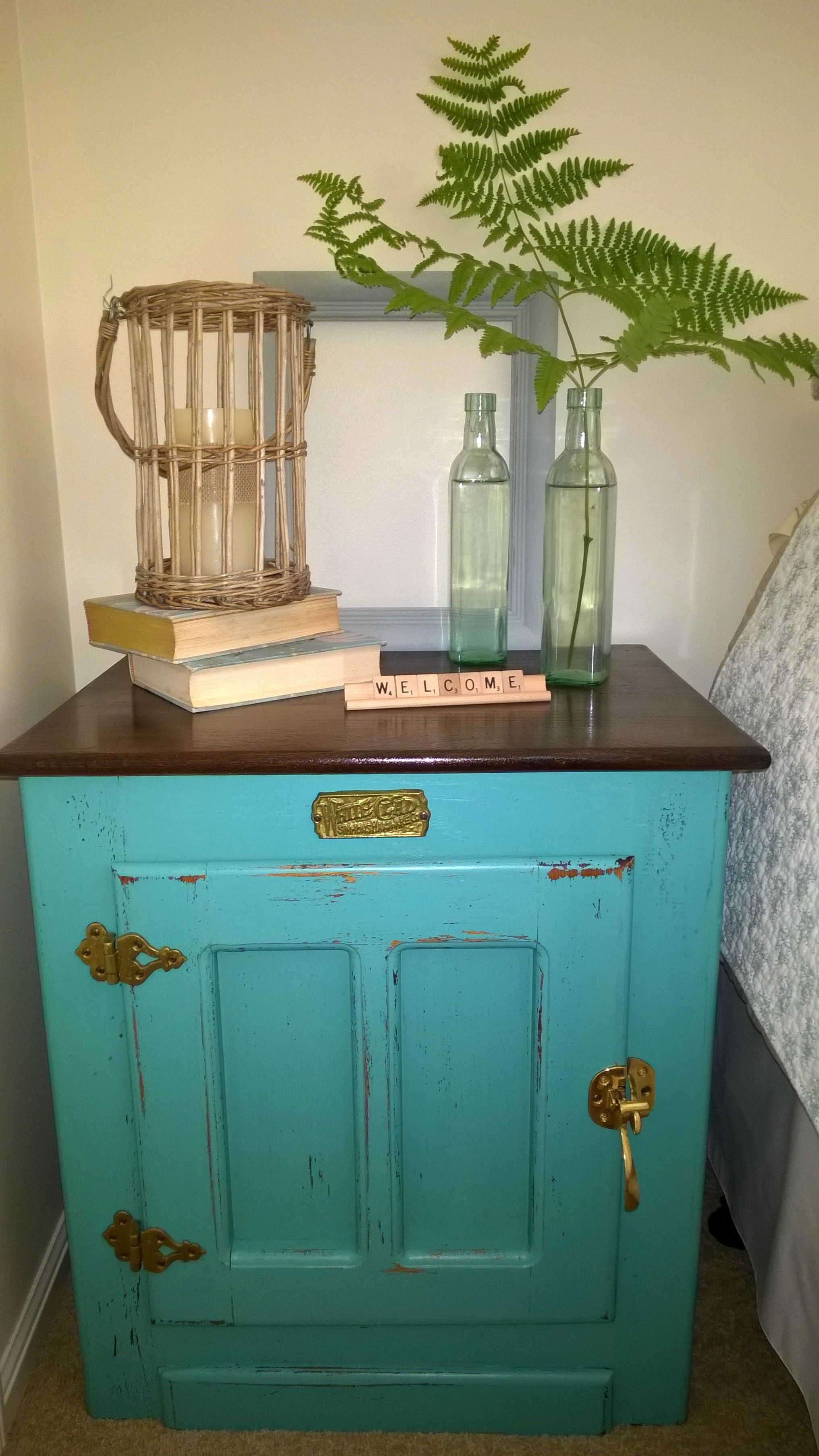 This White Clad Ice Box Hardware Looks Great On This Old Style Ice Box End Table At One Of Our Cus Homemade Chalk Paint Antique Ice Box Antiquing Furniture Diy