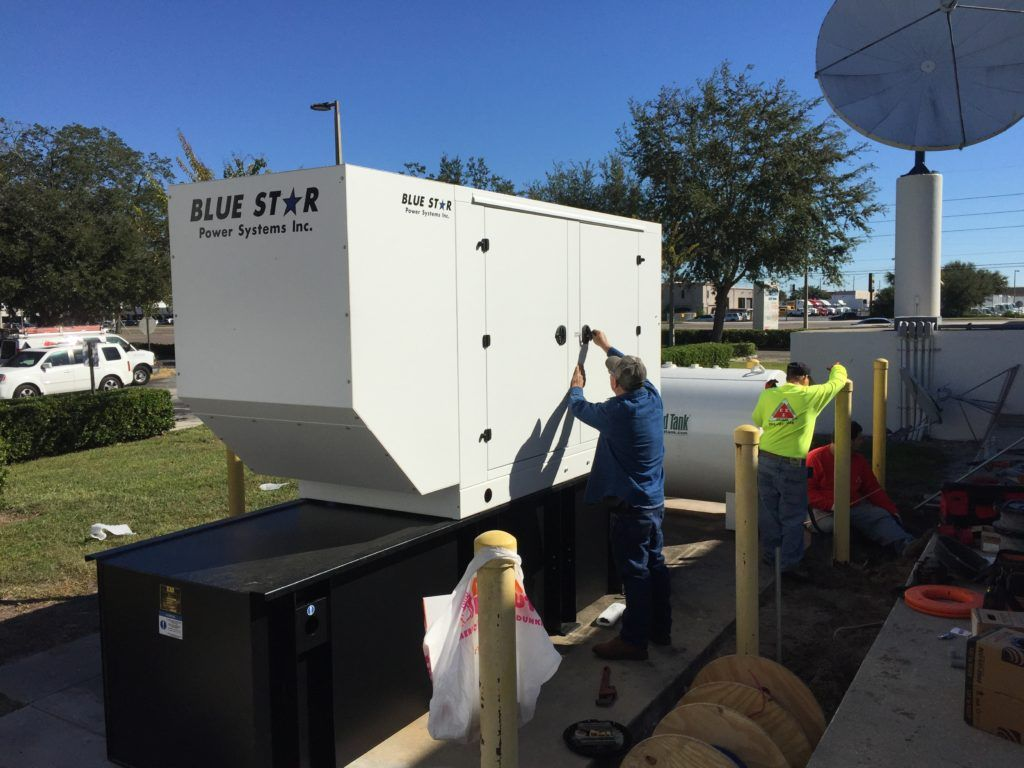Mid Florida Diesel Sold And Installed A New 125kw Blue Star Generator With A 500 Gallon Dw Ul 142 Base Tank Removed An Diesel Blue Star Gas Powered Generator