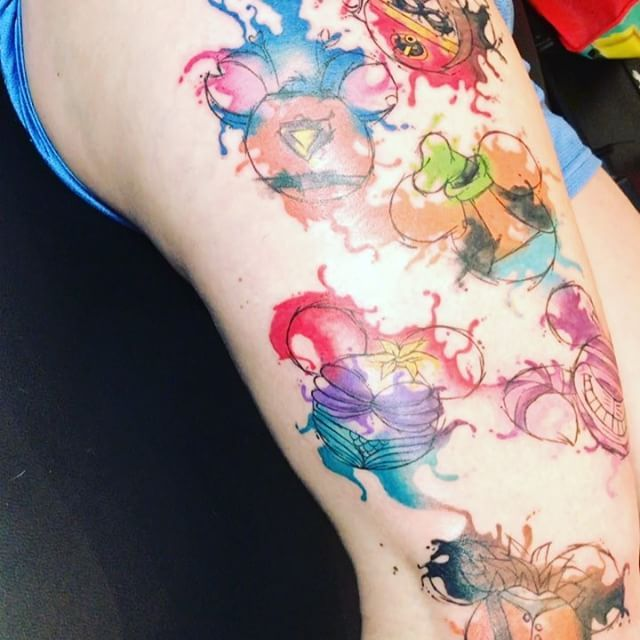 Disney Watercolor Tattoo Tatted Tat Tattoo Ariel The Incredibles Goofy Mickey Mouse Alice In W Disney Watercolor Tattoo Disney Tattoos Cartoon Tattoos