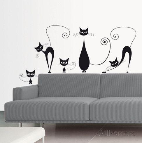 Chats noirs Autocollant mural sur AllPosters.fr