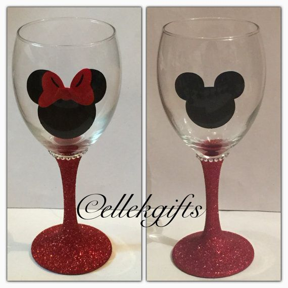Minnie Mickey Mouse Personalised Glitter Glass Gift by