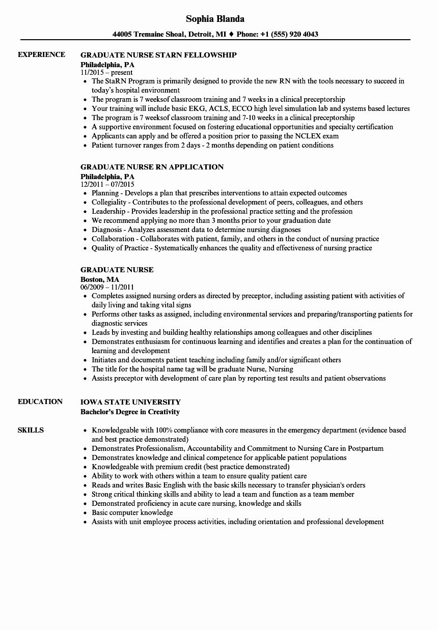 New Graduate Nurse Resume Examples Fresh Graduate Nurse