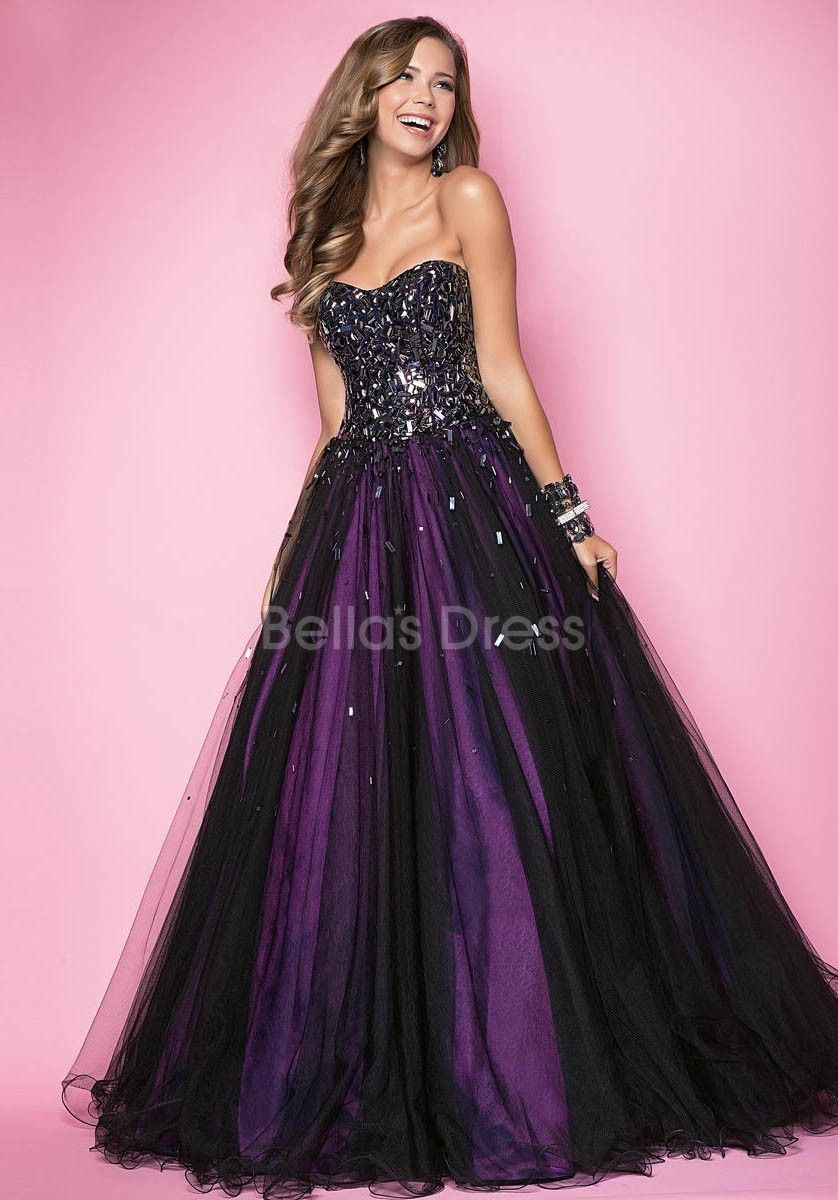 Backless tulle natural waist scoop floor length ball gown prom