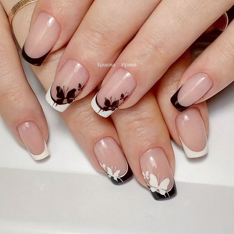 White & black tips with butterflies | Nails | Pinterest | Diseños de ...