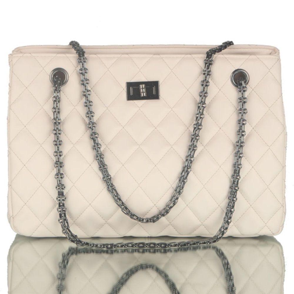 55d9d9165dc Women Love Fashion Soft PU Leather Quilting Handbag Chain Strap Shoulder  Bag Crossbody Bag - White