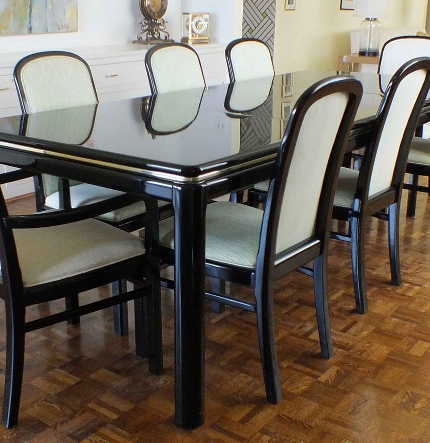 Stunning Black Lacquer Dining Room Chairs For Discount Set Square Design Back Cafe Carlyle One