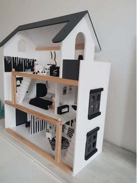 Poppenhuis (monochrome) met mini meubel DIY #dollhouse