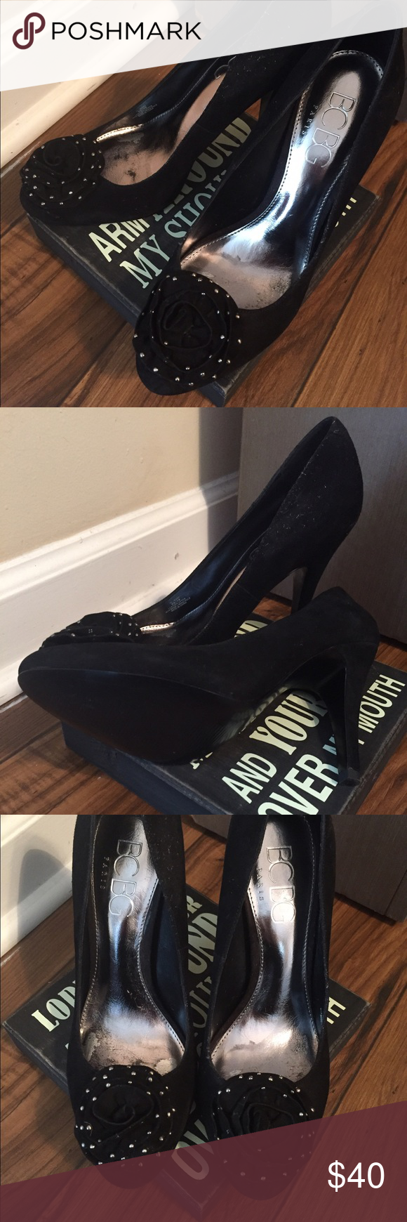 BCBG Suede Heels These attractive pair of Sweet suede silver studded heels are ready to be delivered! The insole is padded for comfort as this brand never fails. Bonus**- these Girl's have never been worn! Sweet deal! BCBG Shoes Heels