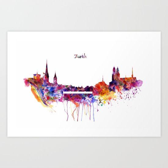 Zurich Skyline Art Print   Skyline art, Zurich and Fine art prints