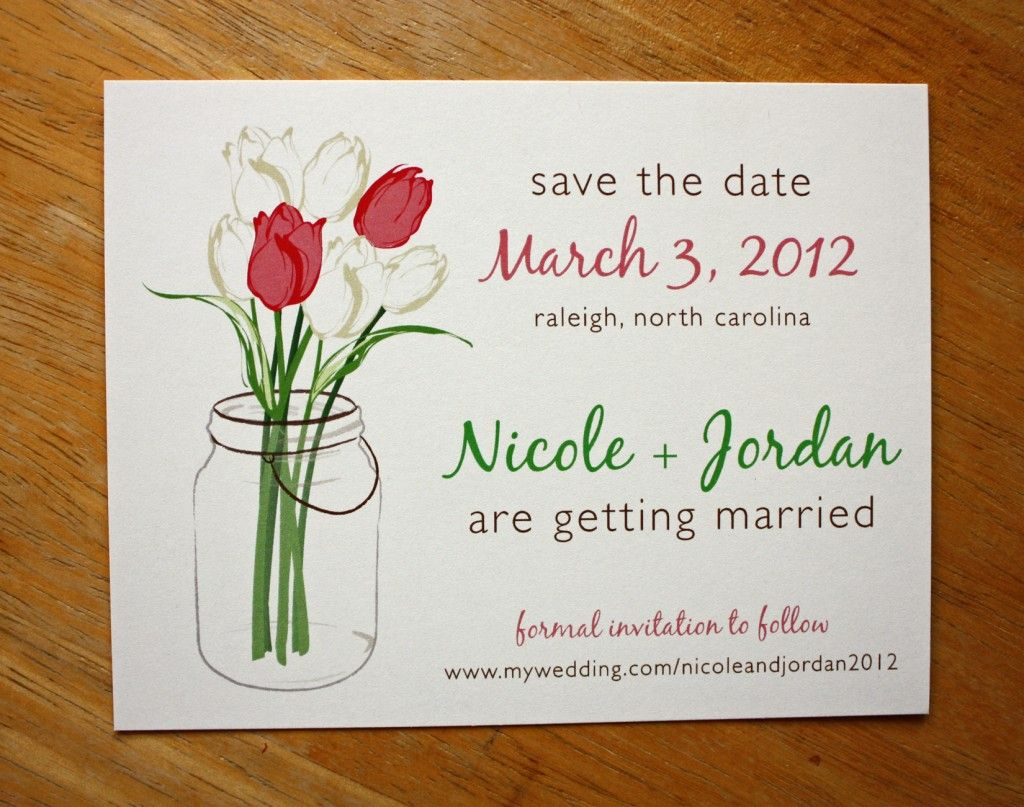 Pink And White Tulips In A Mason Jar Save The Date Cards