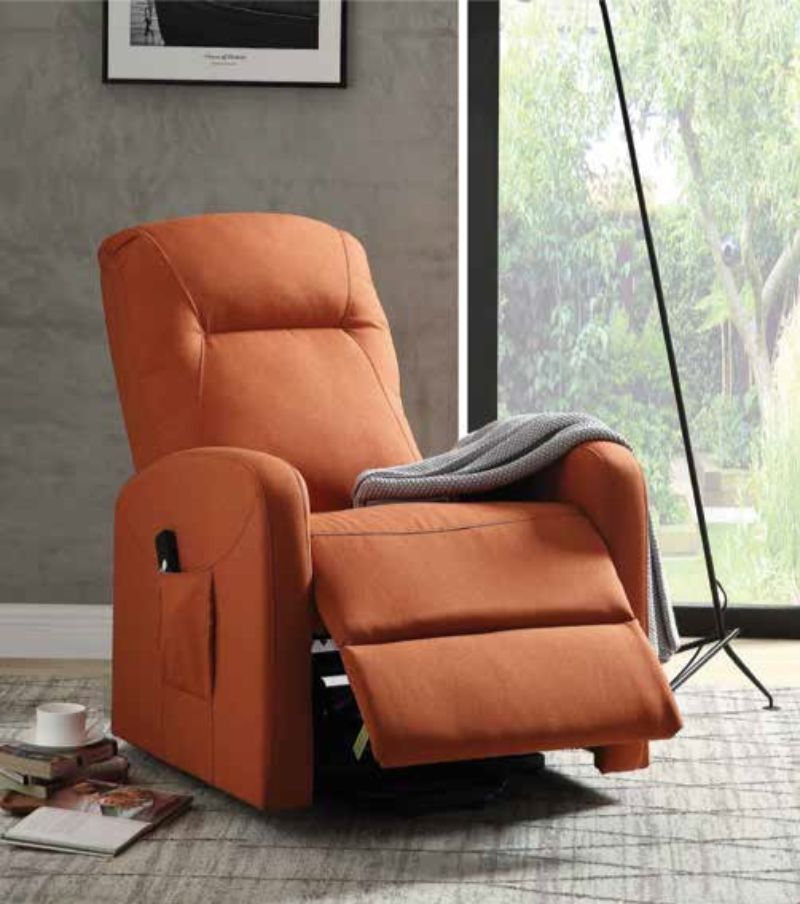 Acme 59459 Kasia Orange Linen Like Fabric Electric Lift Recliner Chair With Images Recliner Chair Lift Recliners Recliner