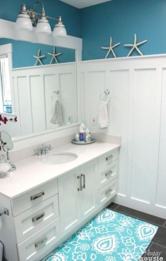 30 Diseños de baños decorados con azul turquesa Ideas para