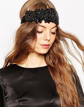 Diadema de encaje negro con adornos de asos premium - Diademas de encaje ...
