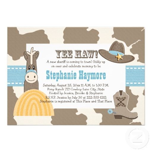 Western Cowboy Baby Shower Invitations Zazzle Com Baby Shower