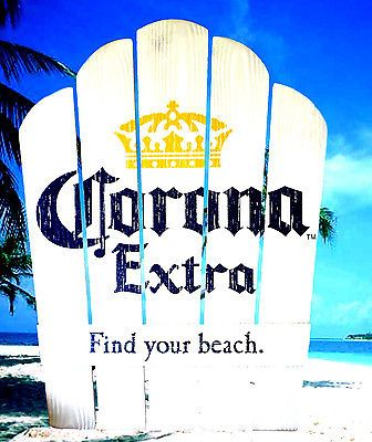 CORONA EXTRA BEER FIND YOUR BEACH DISTRESSED LOOK NEW 21x28 ADIRONDACK WOOD SIGN