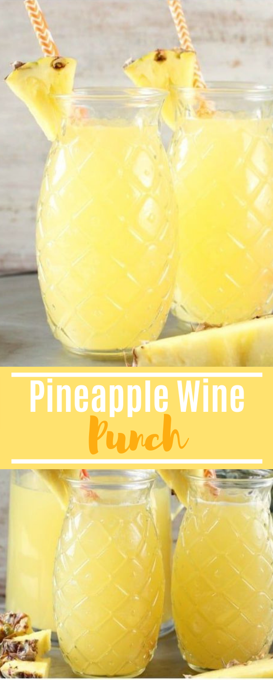 Easy Pineapple Wine Punch #summer #drinks