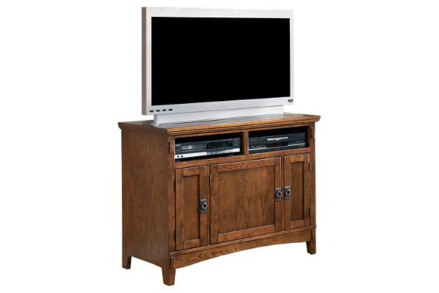 Brown wooden TV stand with three cabinets for storage to enhance your living room décor