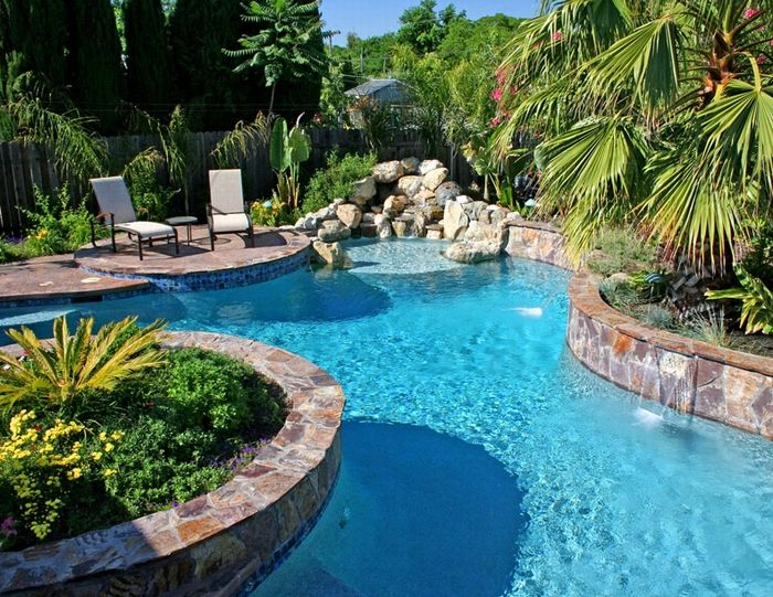 Landscaping garden outdoor living backyard pool - Swimming pool basketball hoop costco ...