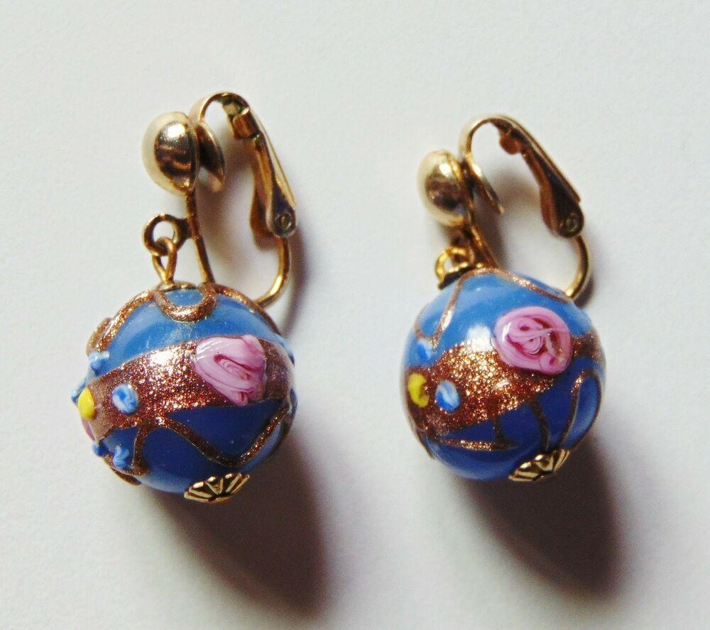 Vintage Murano Wedding Cake Bead Clip On Earrings Art Glass Fiorato Lampwork Venetian Glass Earrings Wedding Earrings Vintage Clip On Earrings