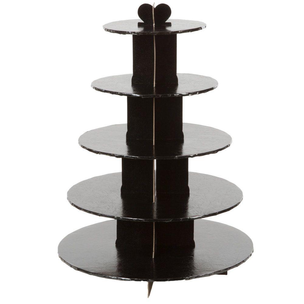 Enjay cs5tblack 5tier disposable black cupcake treat