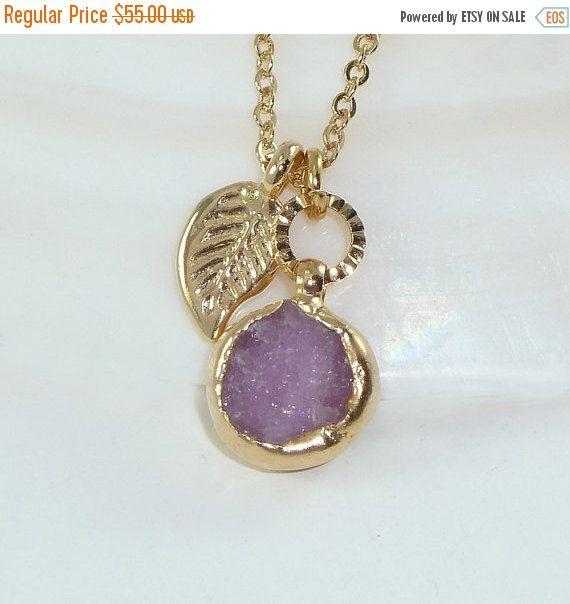 ON SALE - Druzy Necklace, Gemstones Necklace, Purple Lilac  Necklace, Bezel Set Necklace,  Delicate 24k Gold Necklace, Bridesmaids Gift, Cha