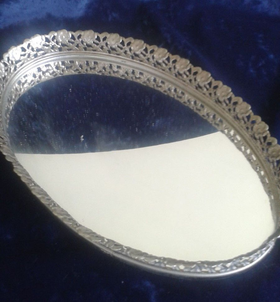 Vintage large oval mirrored vanity tray with gold filigree frame