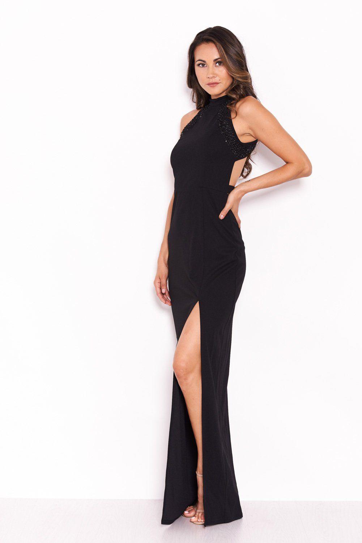 00e8f3b5e67f4 Black Sequin Panel Detailing Maxi Dress With Thigh Split – AX Paris ...