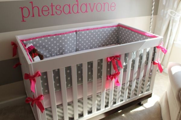 enxoval de berço rosa e cinza  baby room pink girl