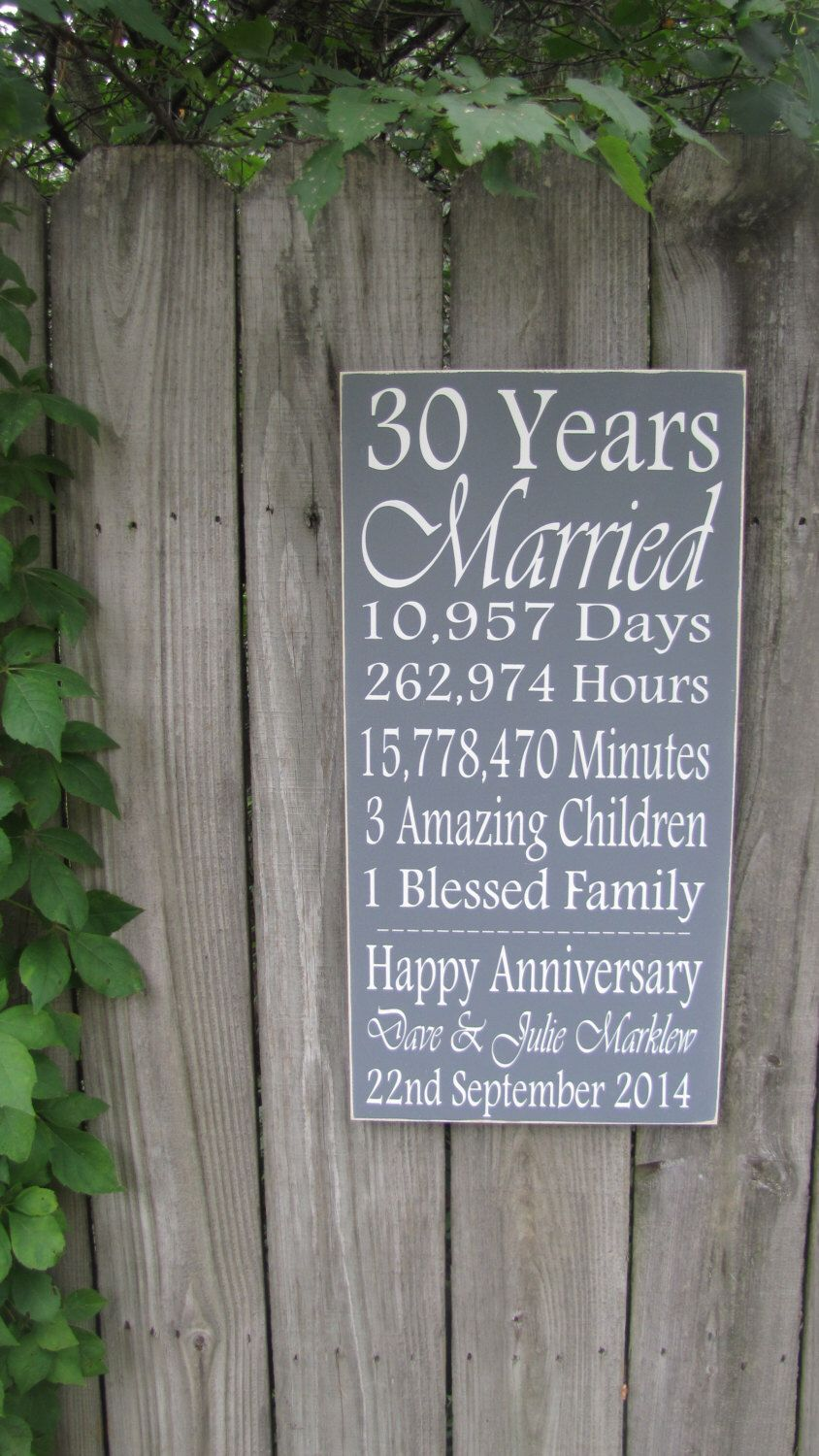 Personalized Anniversary Wood Sign / Wooden Sign / Etsy