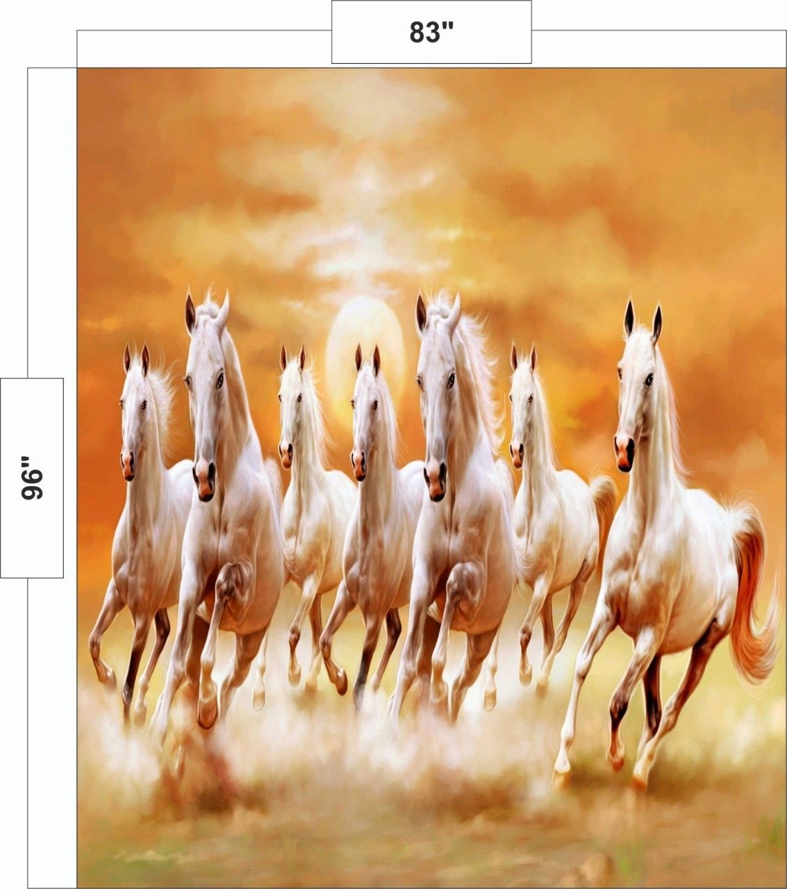 Avikalp Exclusive Awi3250 Seven Running Horses Vastu 7 Horses Seven Ho Avikalp International 3d Wallpap Running Horses Seven Horses Painting Horse Painting
