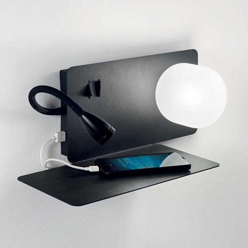 Praktische Wandleuchte Mit Ablage Und Usb Port Book 1 Ap2 Schwarz Led Wandlampen Wandleuchte Lampe