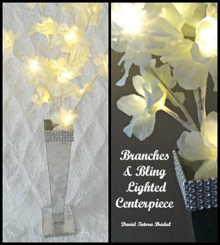 DIY Wedding Crafts : DIY Branches & Bling Lighted Centerpiece