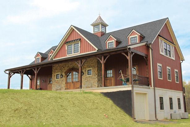 A beautiful custom built timber frame hybrid home designed for Custom barn homes