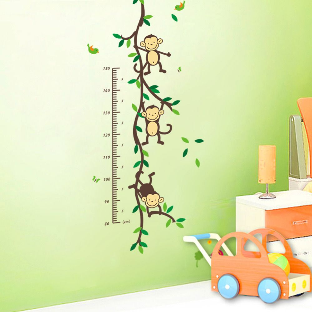 Three Monkeys on the branches wall decor Colorful DIY wall sticker ...