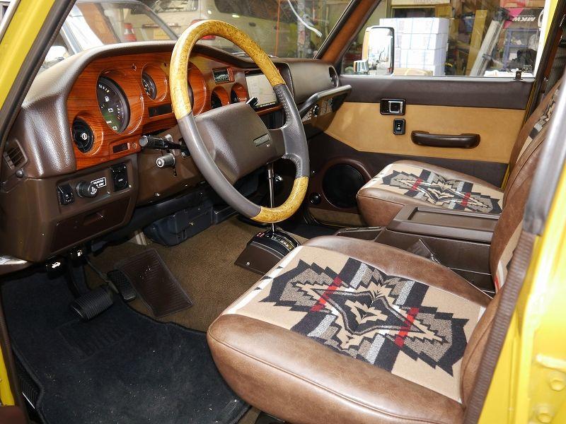 ランクル60内装シート張り替え ペンドルトンカスタムデモカー ランクル60 シートカバー 車 便利