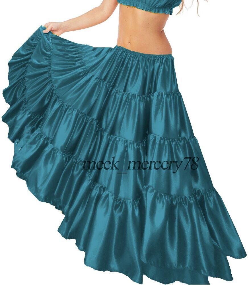 White Satin 12 Yard 5 Tiered Gypsy Skirt Belly Dance Tribal Jupe Flamenco