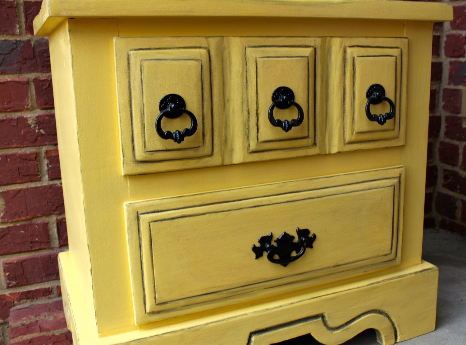 Yellow shabby chic furniture - Distressed Nightstand Side End Table Yellow Marigold Bedroom Furniture Tv Stand Storage Vintage Clearance