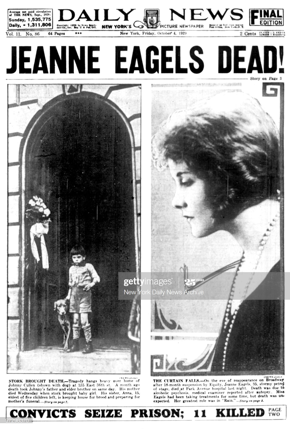 Daily News front page headline Oct. 4 JEANNE EAGELS DEAD!, Actress... | Jeanne  eagels, New york pictures, Daily news