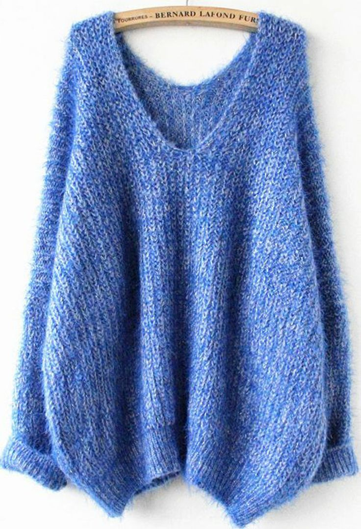 Royal Blue Oversize Mohair Sweater. Knit me this in a deep green ...