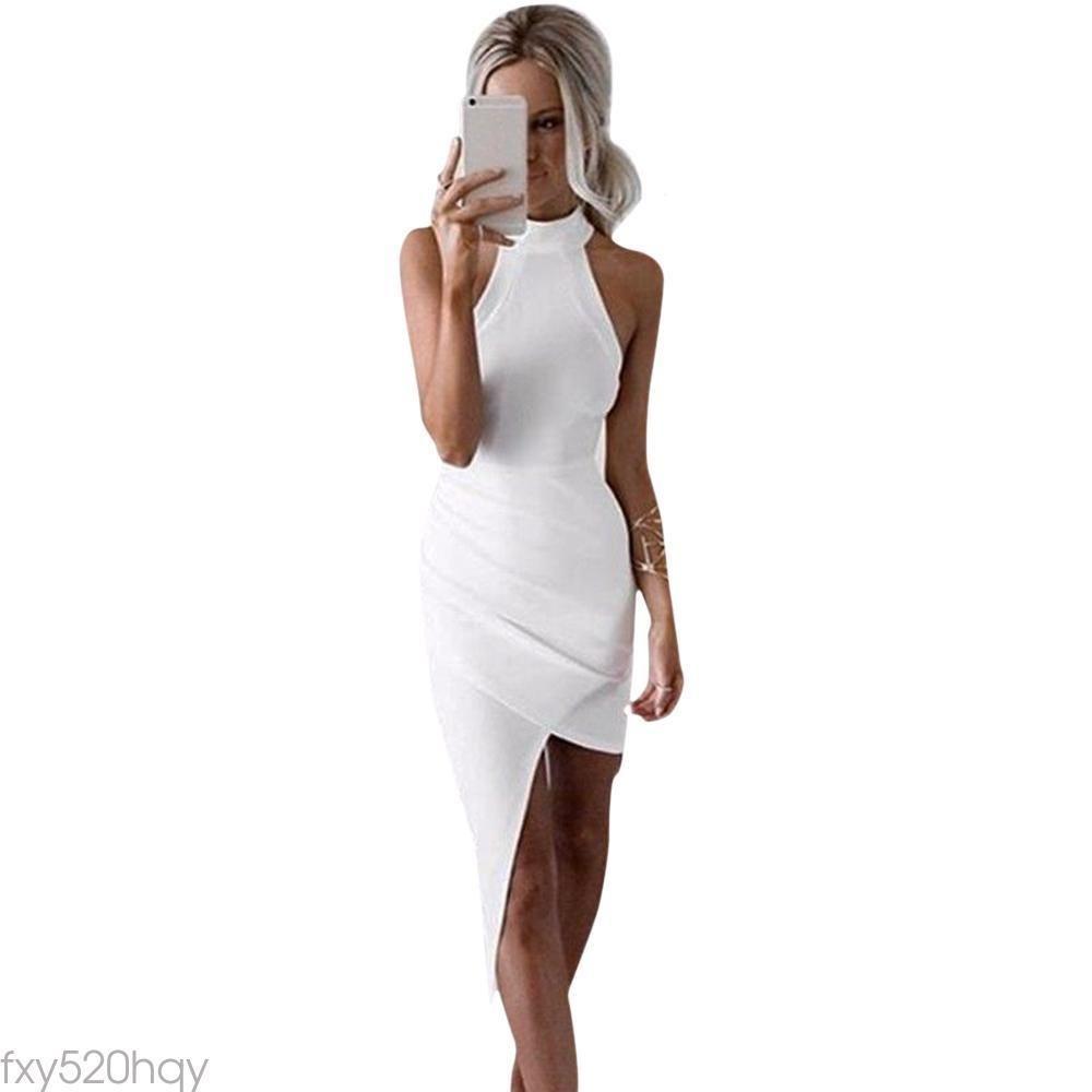 Simple jewel collar white asymmetrical club dress women products